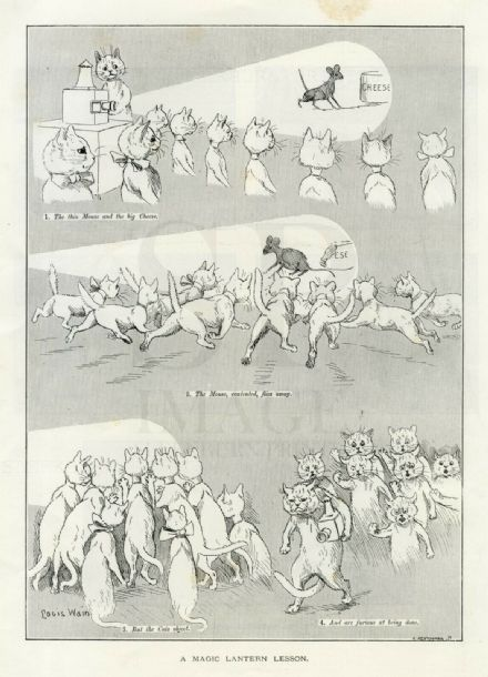 1894 LOUIS WAIN Antique Print CATS Mouse MAGIC LANTERN SHOW Comical Cartoon